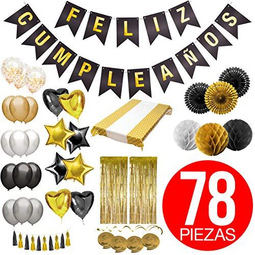 Decoracion Cumpleaños - Pack Incluye Pancarta ' Feliz Cumpleaños', Globos, Guirnaldas, Banderines, Pompones, Cortinas y Mucho Mas