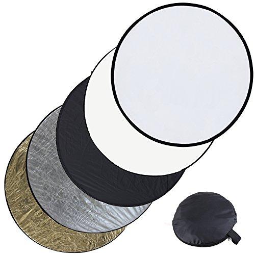PMS®5in1 Set riflettori pieghevoli - 110 cm colori: Oro, Argento, Nero, Bianco (Diffusore),Pannello circolare per (Oro Diffusore)