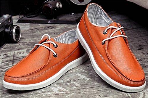 DADAWEN Hommes chaussures casual à semelles blanches Orange