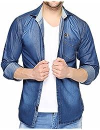 Lafantar Men's Slim Fit Denim Shirt (Blue)