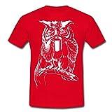 Spreadshirt Eule Kaffee Männer T-Shirt, 3XL, Rot