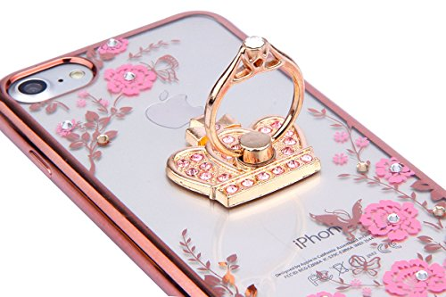 SainCat Coque Housse pour Apple iPhone 5s,Transparent Coque Silicone Etui Housse,iPhone 5 Silicone Case Soft Gel Cover Anti-Scratch Transparent Case TPU Cover,Fonction Support Protection Complète Magn Rose fleur+Or Rose strass Couronne
