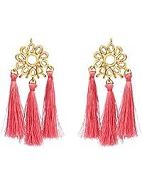 Sanjog Pink Fusion Kundan Stone Tassel Earring For Women Girls