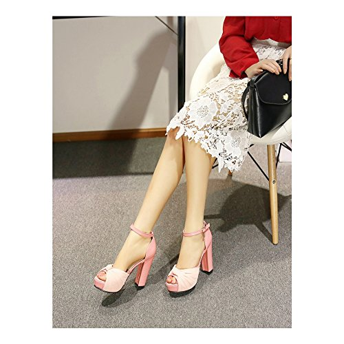 Damen Plateau Sandalen Block Absatz chunky heels Schnalle Einfach Knöchelriemen Plattform Rosa