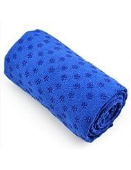 Gleader Toalla Hot Yoga Mat antideslizante Manta Con Los Puntos de placas de silicona y malla Carry Bag (Azul)