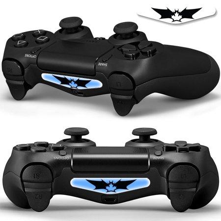 2x LED Sticker 2x Thumb Grips für PlayStation 4 Controller Light Bar Decal Skin Sticker - Bat Fledermaus Shadow Man Small