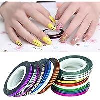 Sannysis® 32pcs colori misti Rolls del nastro della striatura Linea sticker nail art