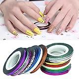 Sannysis 32pcs colori misti Rolls del nastro della striatura Linea sticker nail art