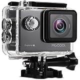 MGCOOL 4K Action Kamera WIFI Sports Action Camera 20MP Full HD Wasserdichte Helmkamera mit 8 in 1 Zubehör Kits-Schwarz