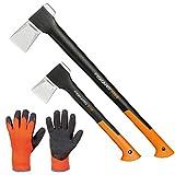 FISKARS© Set Spaltaxt X25 - XL + Spaltaxt X11 - S + Handschuhe