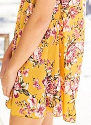 ACHICGIRL Women's Round Neck Cut out Floral Printed Sleeveless Dress Yellow
