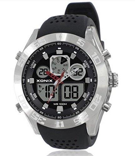Herren Multifunktions uhren,Led outdoor- Bewegung Bergsteigen Wasserdicht Schwimmbad Professionelles tauchen Dual-display Elektronische armbanduhr-A