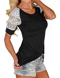 CYBERRY.M T-shirt Été Femme Casual Manches Courtes Col Rond Dentelle Tee Blouse Chemise Top