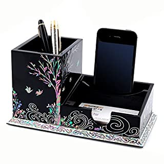 Mother of Pearl Inlay Wooden Bird Tree Multipurpose Office Desk Desktop Pen Pencil Brush Smart Mobile Cell Phone Stand Cup Case Box Business Card Holder Organizer Caddy Container Executive Gift