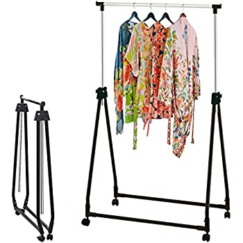 Free Taylor U Brown Collapsible Portable Adjustable Clothes Rail With Clothing Rack