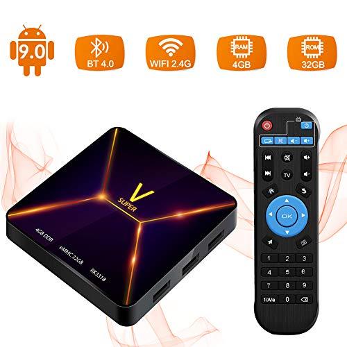 Sidiwen Android 9 0 TV Box Super V Smart Multimedia Player 4GB RAM 32GB ROM  RK3318 Quad-Core 2 4G WIFI Ethernet Bluetooth 4 0 Support 3D 4K Ultra HD