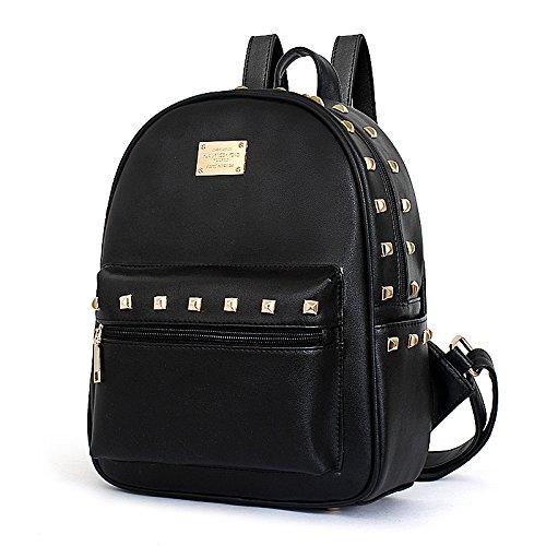 Meoaeo Die Neuen Sommer Damen Rucksack Auf Der Koreanischen Version Der Pu-Nieten Leder Rucksack All-Match black