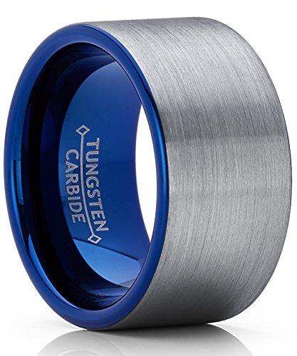 12MM Herren Blau Wolframcarbid Ring Verlobungsringe Trauringe Hochzeitsband gebürstet Bequemlichkeit Passen Größe 67