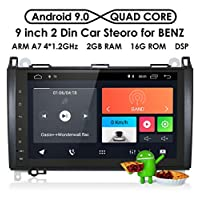 ‏‪hizpo RAM 2G ROM 16G Android 9.0 Car Radio 9 Inch Multi Touch Screen for Mercedes Benz A-Class W164 B-Class W245 C-Class W639 W906 Sprinter Support GPS Navigator RDS Mirrorlink WiFi Rearview Camera‬‏