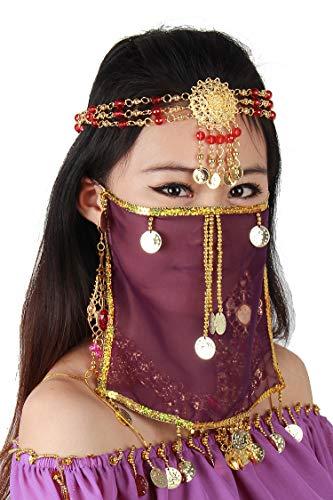 tanz sexy Gesicht Schleier Maske Kostüm Frauen Mädchen arabisch türkische Outfits mit Gold Schmuck Krawatte (Violett) ()