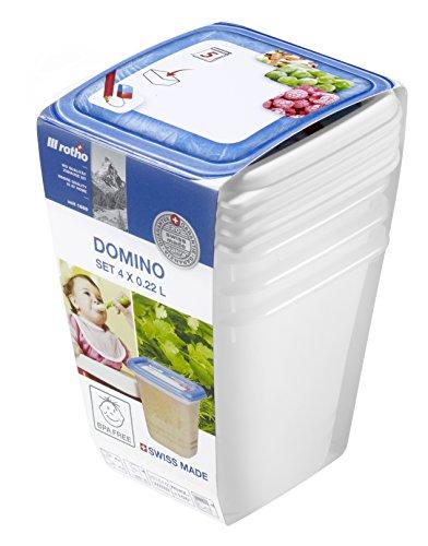 """Rotho 6116610231 Contenitori da freezer \""""Domino\"""" – Scatole salva aroma con etichetta sul coperchio – Set di 4 contenitori per alimenti privi di BPA – Lavabili in lavastoviglie – perfetti per le pappe dei neonati - Capienza per contenitore 0.22 l – bianco/blu"""