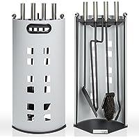 TecTake Juego de 4 accesorios de hierro para chimenea, incluye cepillo, tenazas, recogedor, atizador y soporte, mangos de acero inoxidable