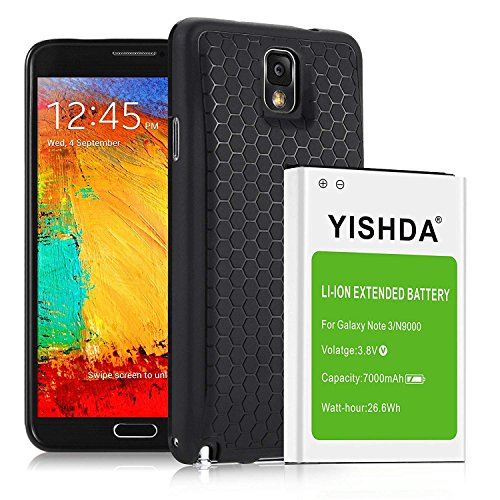 YISHDA Galaxy Note 3 Battery,7000mAh Replacement Battery for Samsung Galaxy Note 3 with Back Cover & TPU Case Compatible N9000 N9005 N900A N900V N900P N900 | Note 3 Extended Battery, 18 month warranty