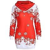 Riou Weihnachtskleid Pulloverkleid Damen Herbst Langarm Schneeflock Lang Gedruck Knielang Hoodie Sweatshirt Blouse Kleider (XL, Rot)