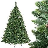 FairyTrees Weihnachtsbaum künstlich KIEFER, Natur-Grün, Material PVC, echte Tannenzapfen, inkl. Metallständer, 180cm