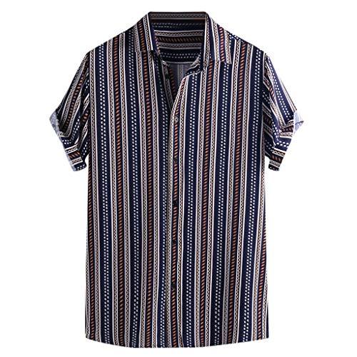 TWISFER Herren Hawaiihemd Hemd Freizeithemd Mehrfarbig Freizeit Kurzarm Streifen Hemd Capri Thai Shirts Boho Fischerhemden Chic Kurzarm Sommertop -