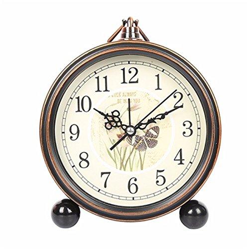LLSJZ Moda Europea-estilo retro pequeño despertador mudo metal despertador, Yingge mariposa danza