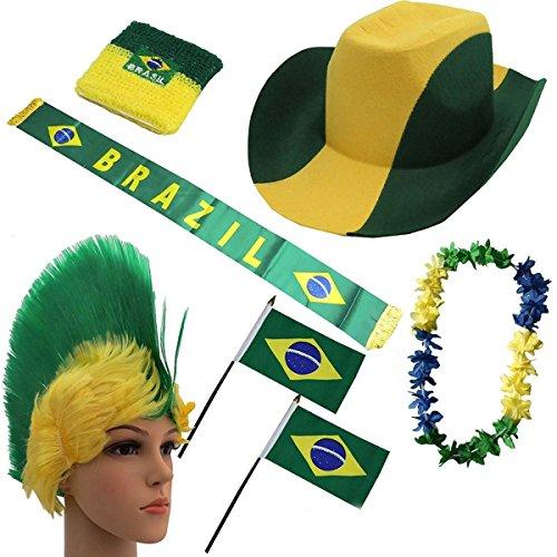 paket Fahne Flagge Schal Perücke Blumenkette Party WM EM Farbe Brasilien ()