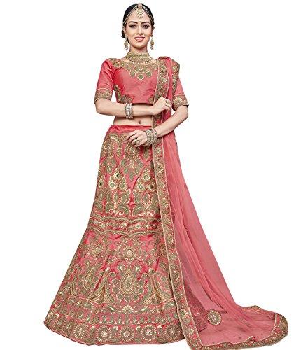 Indian Ethnicwear Bollywood Pakistani Wedding Peach A-Line Lehenga Semi-stitched-ROYK26858