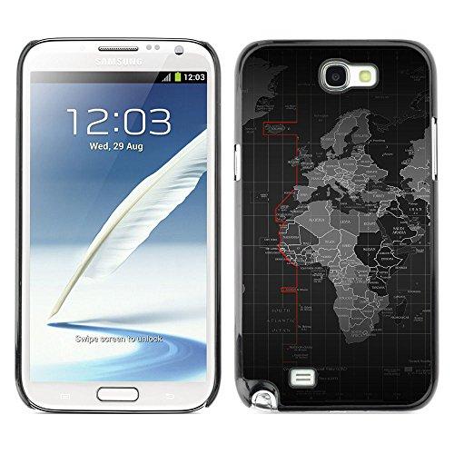 TaiTech / Premio Sottile Slim Cassa Custodia Case Bandiera Cover Armor PC Aluminium - Mappa del mondo - Samsung Note 2 N7100