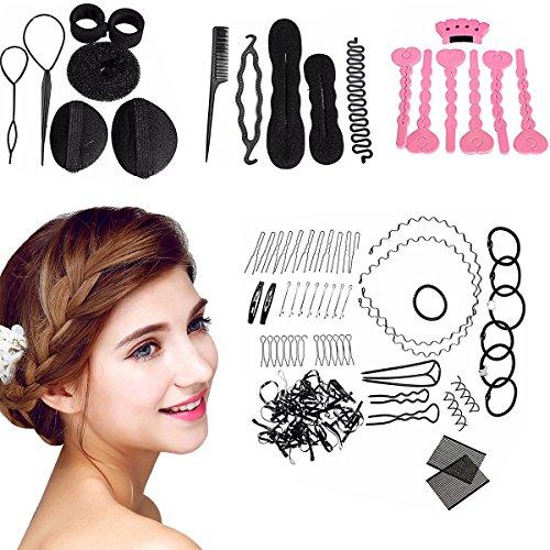 Haare Frisuren Set, Lockenwickler, Haar Styling Zubehör, 22 Stück DIY Haar-Styling-Werkzeug, Haar Pin Haar Bun Maker Frisuren Werkzeuge Set für Frauen Mädchen geeignet für Anfänger (22PC)