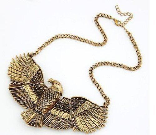 R Heaven – Águila vintage antiguo arte del bronce del estilo del collar del metal deco egipto , color oro