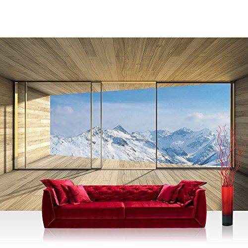 Vlies Fototapete 416x254cm PREMIUM PLUS Wand Foto Tapete Wand Bild Vliestapete - Landschaft Tapete Holz Raum Ausblick Berge Winter Schnee Alpen blau - no. 1894 (Schnee Berg Bilder)