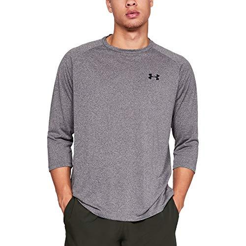 Under armour, ua tech 3/4 sleeve 2.0, maglia a maniche lunghe, uomo, grigio (charcoal light heather/nero), s