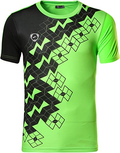 Jeansian Hombre Camisetas Deportivas Wicking Quick Dry Tee T-Shirt Sport Tops LSL111 Green M