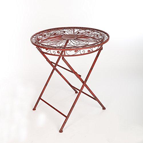 Gartentisch Metalltisch Terassentisch Eisen Vintage Gartenmöbel Weinrot Antik 77 x 69 cm