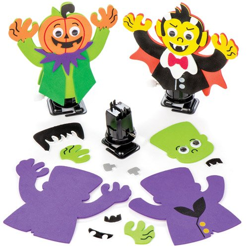 Baker Ross Aufziehfiguren-Bastelsets Halloween als lustiges Spielzeug für Kinder zum günstigen Preis – perfekt als kleine Party-Überraschung für Kinder zu Halloween (3 Stück) (Günstige Halloween-taschen)