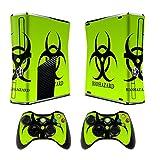 Xbox 360 Slim Designfolie Sticker Skin - Vinyl Aufkleber Schutzfolie für Xbox 360 Slim Konsole mit 2 Aufkleber für Xbox 360 Controller Biological harzard
