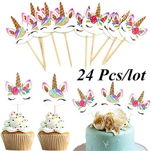 Appearandes 24Pcs/Set Unicorn Cartoon Cupcake Toppers Cake Decorating Insert Card Pick Wedding Kids Birthday Party Decor Supplies (Supplies Decorating Cookie)