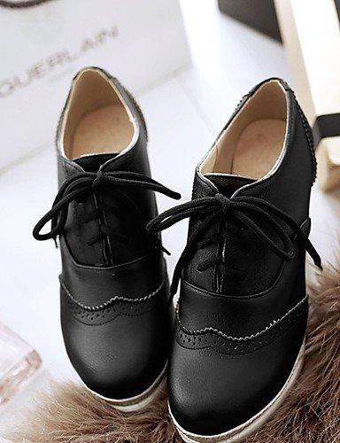 WSS 2016 Chaussures Femme-Bureau & Travail / Soirée & Evénement / Décontracté-Noir / Blanc-Talon Compensé-Compensées / Talons / A Plateau / Bout white-us6 / eu36 / uk4 / cn36