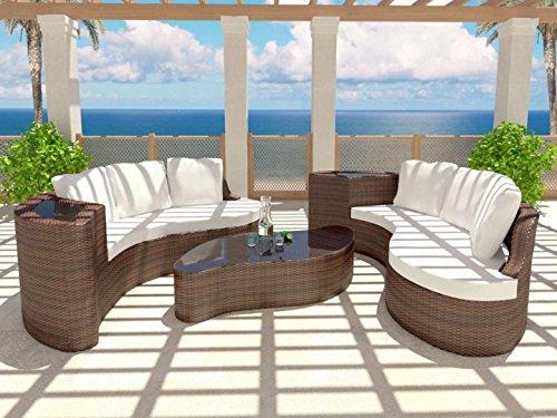 Rattaninsel EMMI braun 2 Sofas Tisch Garnitur Sitzecke Sitzgruppe Sitz Ecke Bank Stuhl Gruppe Sitzgruppe Liege Poolmöbel günstig