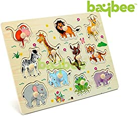 BAYBEE Wild Animals Wooden Puzzle Educational Toy With Knobs For Kids