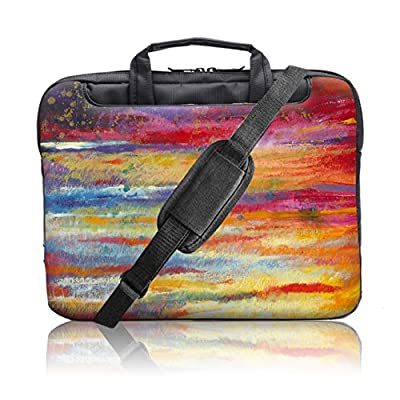 TaylorHe 15.6 inch 15 inch 16 inch Hard Wearing Nylon Colourful Laptop Shoulder Bag with Patterns, Side Pockets Handles and Detachable Strap