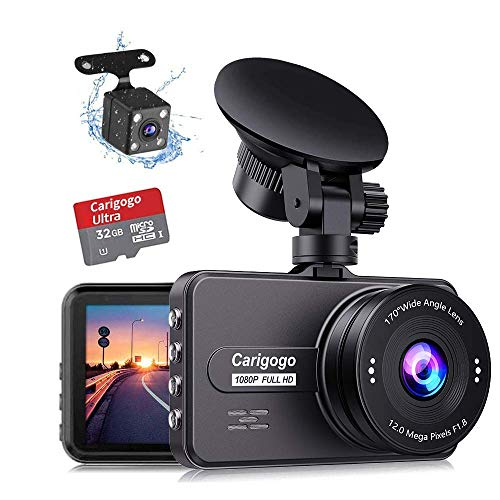 Carigogo Dash Cams for Cars Front and Rear FHD 1080P Dashcam, Dual Dash Cam with F1.8 Night Vision 170°Wide Angle Dashcams for Cars, Loop Recording, G-sensor, Parking Monitor, WDR(SD Card Included)