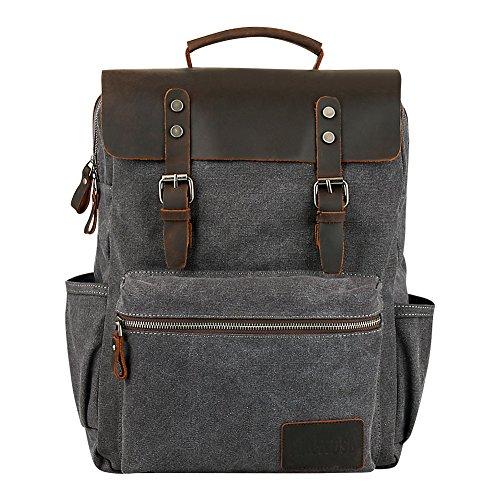 (P.KU.VDSL Canvas Rucksack,Vintage Schulrucksack Retro Rucksack Daypack Backpack Lederrucksack Wanderrucksack Reisetasche Laptoprucksack für Herren Damen Jungen Mädchen (N6 - Grey))