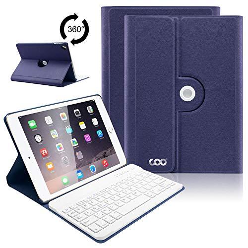 iPad Tastatur Hülle für iPad 2018(6. Generation), iPad 2017(5.Generation), iPad Pro 9.7, iPad Air& Air 2-360 Grad Drehung Ultra Slim Case, Abnehmbare Bluetooth Tastatur, QWERTZ Layout(Dunkelblau)